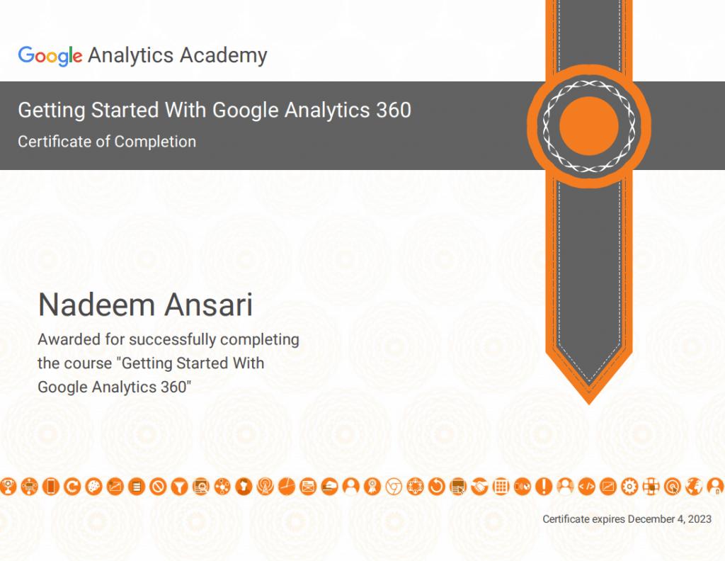 Nadeem Ansari - Google Analytics Certified