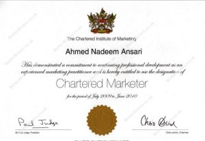 • Chartered Marketer (2005-2012)