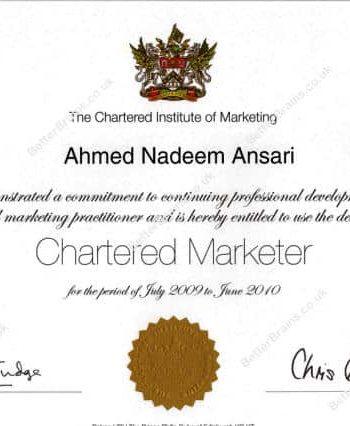 • Chartered Marketer (2005-2012)