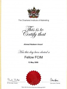 Former Fellow Chartered Institute of Marketing - FCIM (Member from 1999 - 2012 – 13 years)