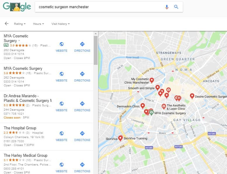 SEO manchester cosmetic surgeons