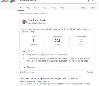 Gogle Search Console data in Search results