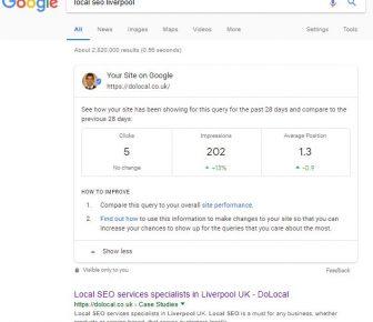 Gogle Search Console data in Search results