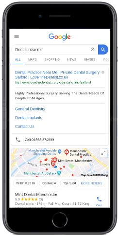 Local search result for Dentist Near Me on iPhone 8