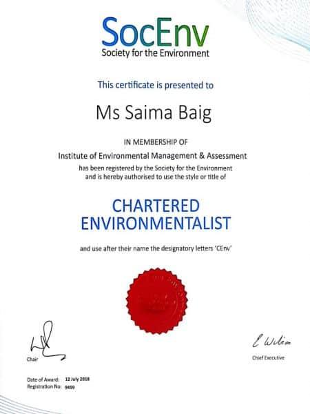 Saima Baig Chartered Environmentalist
