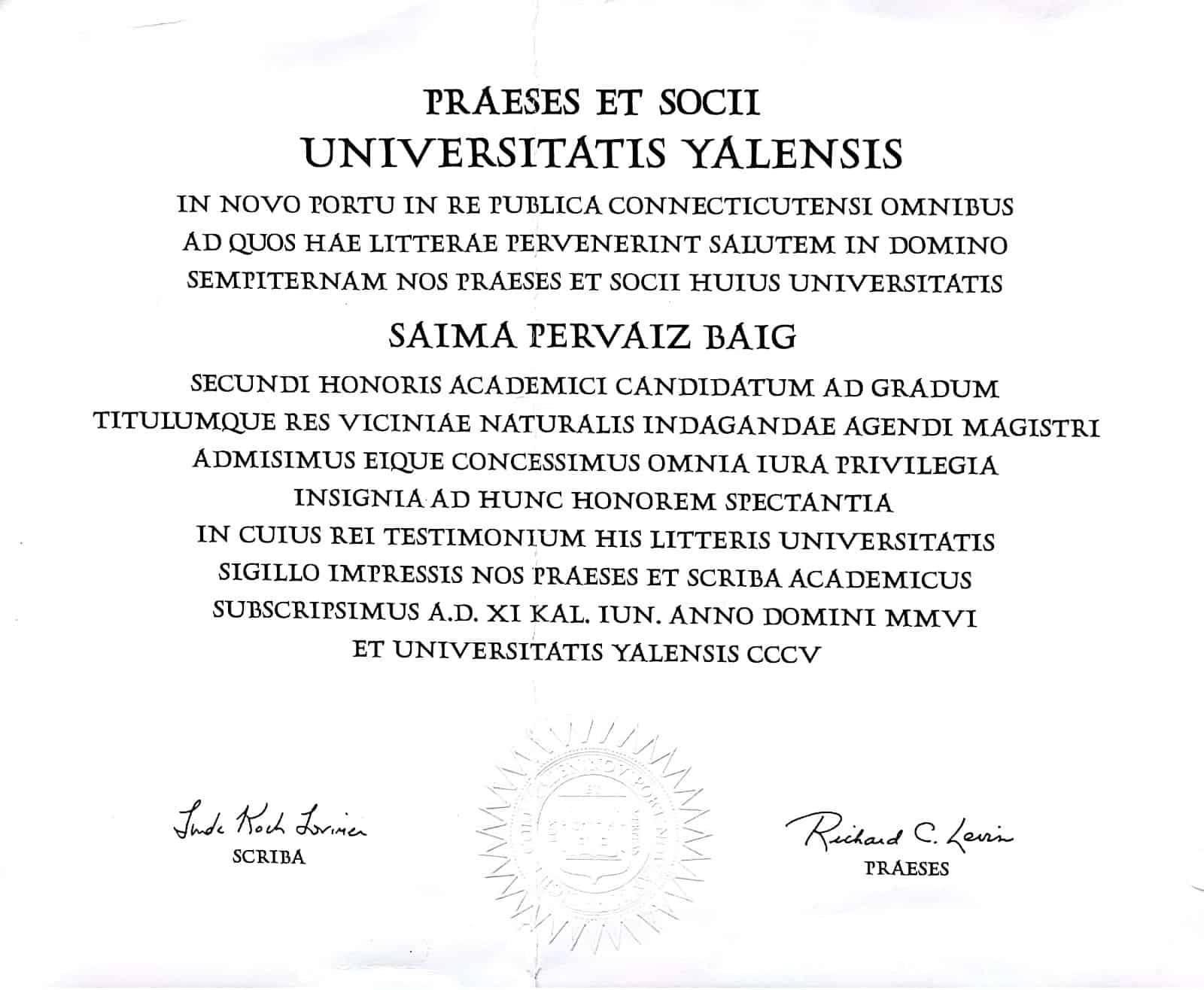 Saima Baig Yale