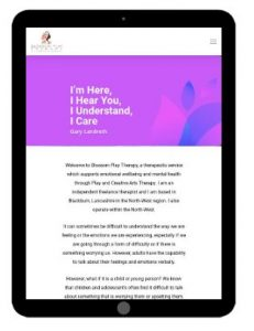 Blossom Play Therapy Website - Tablet version