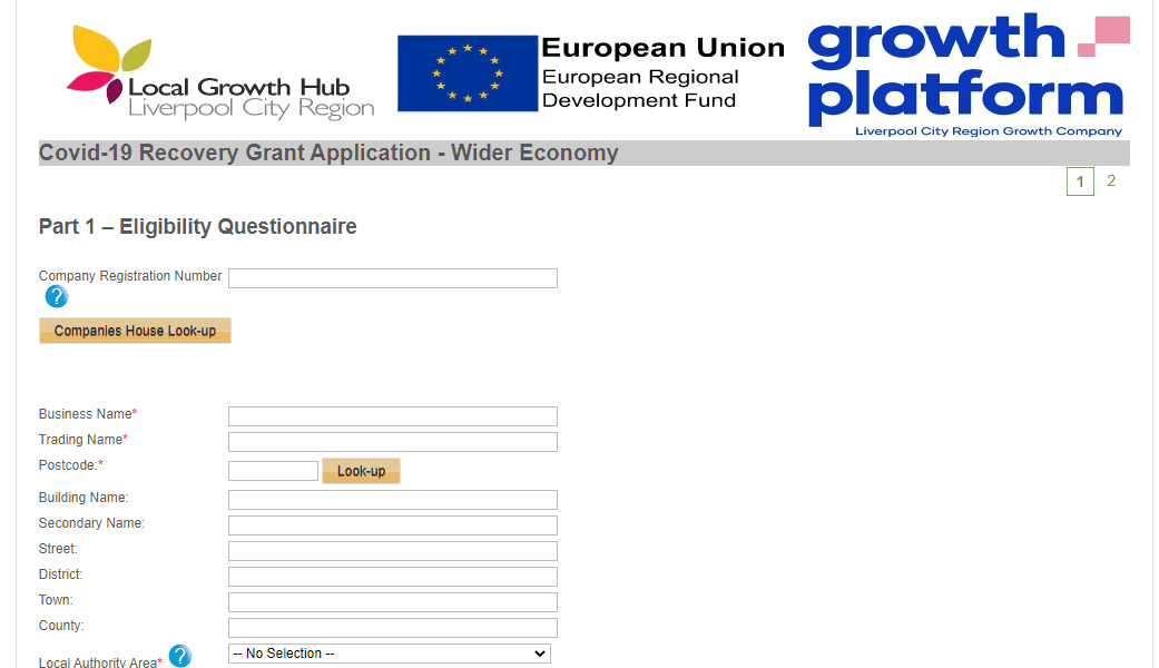 Covid-19 Business Recovery Grant Application Form Liverpool